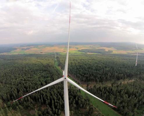 Windräder im Wald - eine große Gefahr für Vögel und Fledermäuse©VLAB